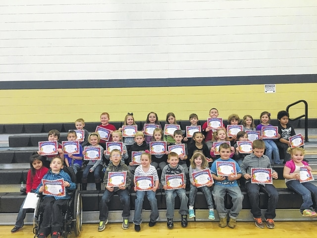 """The following students received recognition for being """"Students of the Month"""" for January at Miami Trace Elementary School. These students were chosen for showing that they are trustworthy at school each and every day and were treated to Donato's Pizza with the Principal. Front row: Allisson Juarez, James Bethel, Michael Haughey, Karley Baker, Jeremiah Green, Annabel Teter, Harley Howe, Matthew Barnard and Carolina Ashmore. Middle row: Nathan Ralph, Logan Moralaja, Ashlyn Davis, Natalie Pitstick, Kenton Berry, Brenna Sword, Brody McBee, Arianna Williams, Janelle Capehart and Ameerah McConahay. Back row: William Umstead, Logan Woods, Grace Green, Casi Parrish, Anslee Combs, Justin Etzler, Nic Lindsey, Luke Armstrong, Kyndall Morris, Virginia Langley and Trevor Clark. Not Pictured: Yaretzi Utrera Canseco, Gage Funk and Adailya Ridings."""