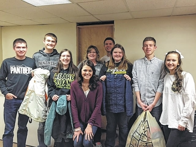 Over 75 winter items were collected by the Miami Trace High School Key Club and donated to the Rose Avenue Community Center. Names from left to right of those available during school day period six: Cody Clyburn, Riley Evans, Elizabeth Kratzer, Rebecca Milstead (Rose Avenue representative), Kameron Rinehart, Tori Riley, Brett Lewis, Julia Barrett and Marissa Sheets.