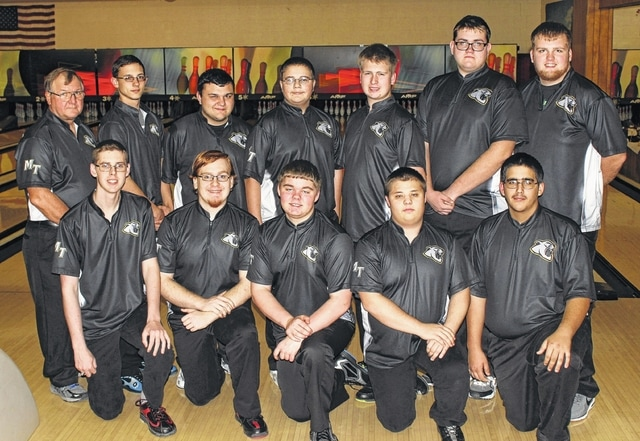 The Miami Trace boys bowling team set a new school record for team high score on Jan. 27, 2016 against Clinton-Massie. (front, l-r); Nathan Anderson, Brandon Hinkley, Jameson Rowland, Gavin Sturgill, Jackson Perkins; (back, l-r); coach Ron Amore Sr., Devon Harmon, Blake Bradshaw, Tony Altop, Quinton Waits, Austin Pickens and coach Kaleb Taylor.