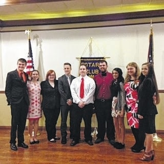 "The Washington Court House Rotary Club held its annual ""4-Way Test"" speech contest on Feb. 23. The students who participated were (L-R): Riley Evans, Elizabeth Krafzer, Amber Haynes, Mitchell Creamer, Austin Russell, Gavin Mallow, Roma Patel, Michaela Liff, Rebekah Lucas"