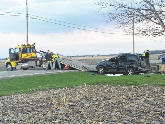 A three-vehicle accident with minor injuries occurred on State Route 41 Thursday evening, leaving the road blocked and traffic slowed for over an hour as crews worked to clean up. Glass was spread across the roadway and one vehicle ended up in the front yard of a residence.