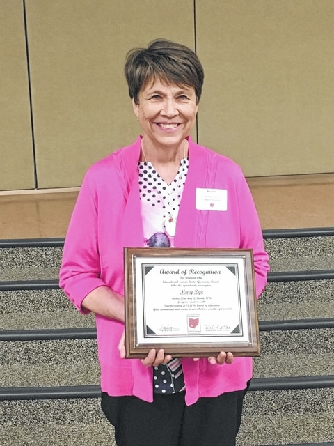 Mary Dye, a nurse and certified diabetic educator at Fayette County Memorial Hospital in Washington Court House, was presented with the 2016 Fayette County Friend of Education Award Tuesday evening during the 19th annual dinner-meeting of administrators and boards of education members from the Southern Ohio Educational Service Center (SOESC)