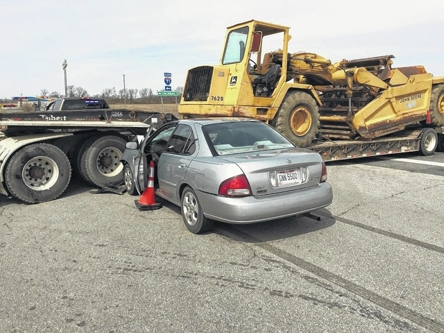 A 45-year-old Washington C.H. woman who was driving this Nissan Sentra was killed Tuesday afternoon in the two-vehicle accident. This semi tractor-trailer was attempting to turn onto State Route 38 from the I-71 southbound exit ramp and turned into the path of the northbound Nissan Sentra. Tamara Westcamp was killed in the crash.