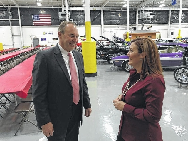 """Ohio Lt. Gov. Mary Taylor visited Fayette County on Wednesday and visited several area locations. Here, Taylor and State Sen. Bob Peterson (R-District 17) visit SugarCreek Packing at 2101 Kenskill Ave. in Washington C.H. They also made a stop at Bluegrass Farms of Ohio, and Taylor was able to see a map of the county's 1,600-acre mega-site located at the intersection of Interstate 71 and U.S. Route 35. """"Because of (the mega-site's) location and because of its readiness with all of the appropriate utilities, I think it's a great site,"""" Taylor said. """"It sounds like we had a couple of near misses in the past as far as getting employers. But it's a great site and we should focus on finding the right opportunity for the right company to locate there."""""""