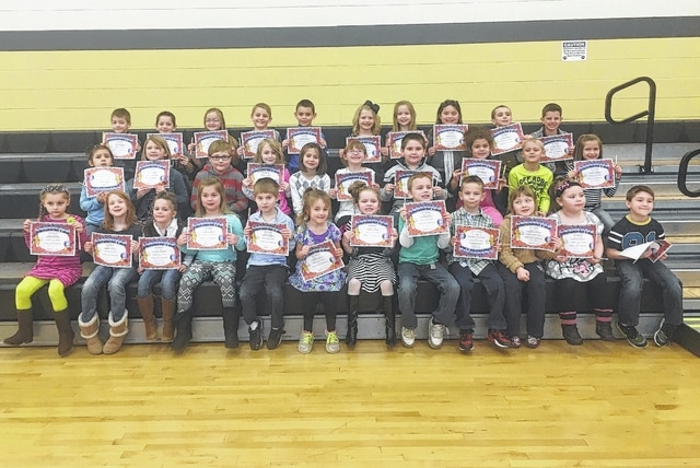 The following students received recognition for being Students of the Month for the month of February at Miami Trace Elementary School. These students were chosen for showing compassion to their classmates and teachers at school each and every day and were treated to Donato's Pizza with the principal. Front row: Adailya Ridings, Jillian Jenkins, Izzy Hall, Makinzyn May, Benneit Boggs, Audrey Trout, Avery Wolfe, Landen Powell, Max Johnson, Nori Ackley, Bri Woolley, Preston Thomas. Middle row: Karinna Hoover, Kaylynn Thompson, Waylon Horton, Emma McCullah, Lauren Guess, Abrielle Alltop, Jesse Minney, Ebony Pierce, Matthias Smith and Macy Lewis. Back row: Jon Woolever, Sinjin Smith, Karley Hicks, Blake Boedeker, Ryan Hassell, Cali Kirkpatrick, Hope Wiseman, Ella McCarty, Ben Huston, Jackson Miller Not Pictured: Ryan Hatert and Tressel Gilpen. Not Pictured: Ryan Hatert and Tressel Gilpen.