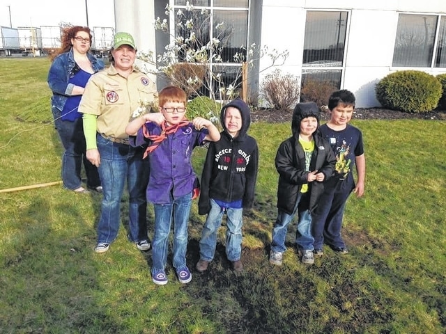 On March 22, the youngest members of Local Cub Scout Pack 112 met at YUSA Research & Development to plant a tree. Pictured (L-R): Assistant Den Leader Sheena Huseby, Assistant Cubmaster Mikki Lehr, Ethan Lucas, Chase Trent, Sebastian Breakfield, and Chase Smith. Not pictured: Sebastian Riggs-Martin