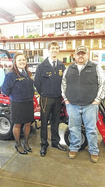 Hannah Ellenberger and Zach Ault, MT FFA officers, are pictured with Scott Evans from Mayer Farm Equipment.