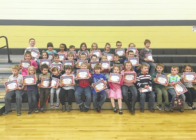 The following students received recognition for being Students of the Month for the month of March at Miami Trace Elementary School. These students were chosen for being a good friend at school each and every day and were treated to Donato's Pizza with the principal. Front row: Wylee Stuckey, Katelyn Sturgell, Carter Weade, Suncea Gregory, Kenleigh Wilt, Gabe Spurgeon, Wyatt Redding, Lilliah Stickel, Molly Whiteside, Ryan Hatert, Troy Hammond, Landon Hottinger and Keionnie Ackley. Middle row: Patience Moore, Allison Carter, Nathan Leach, Luke Bennett, Daniel Edwards, Kayden Trapp, Cody Smalley, Colten Roflow and Gavyn Maynard. Back row: Hayden Bartruff, Damaris Mendoza Ramirez, Alizeh Hudson, Laine Holstein, Peyton Johnson, Bella Shull, Dannielynn Docter, Wyette Mosher, Lilly Capehart and Bodie Gurr. Not pictured: Brandon Tolle, Carter Lawhorn and Aayden Lane.