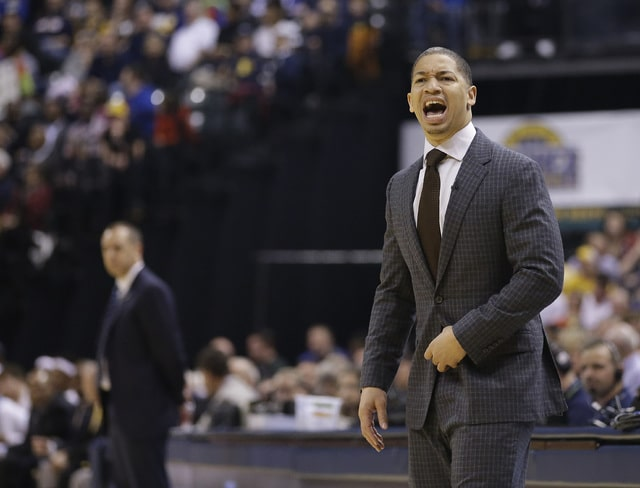 Cleveland Cavaliers coach Tyronn Lue argues a call during the first half of the team's game against the Indiana Pacers on April 6 in Indianapolis.