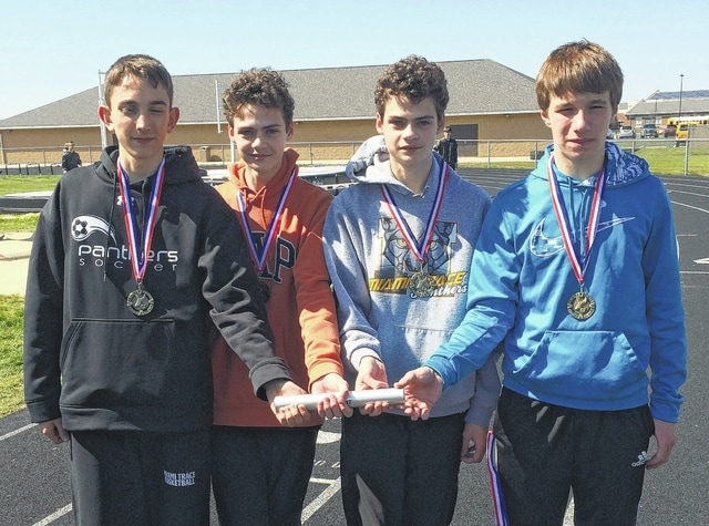 This quartet comprises the 4 x 800-meter relay team that set a new school record at the Clinton-Massie relays Wednesday, April 13, 2016. (l-r); Caleb Perry, Simon DeBruin, Henry DeBruin and Cole Enochs.