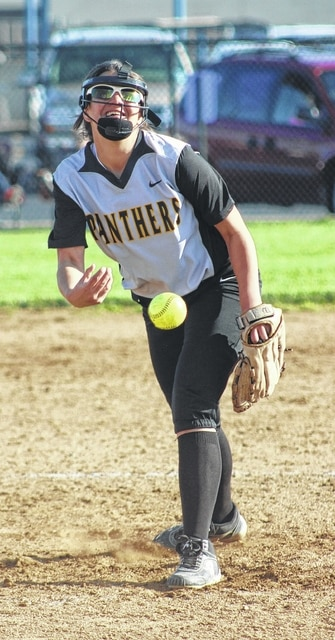 Olivia Wolffe delivers a pitch for Miami Trace during an SCOL game at Washington High School Wednesday, April 13, 2016. Wolffe, a freshman, pitched her first career shutout in a 14-0 Lady Panther victory.