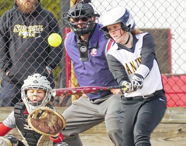 Miami Trace's Jessica Camp hits the ball for a double during an SCOL game against East Clinton Friday, April 1, 2016 at East Clinton High School. Camp went 3 for 4, hitting three doubles, driving in three runs and scoring twice in the Lady Panthers' 11-5 win.