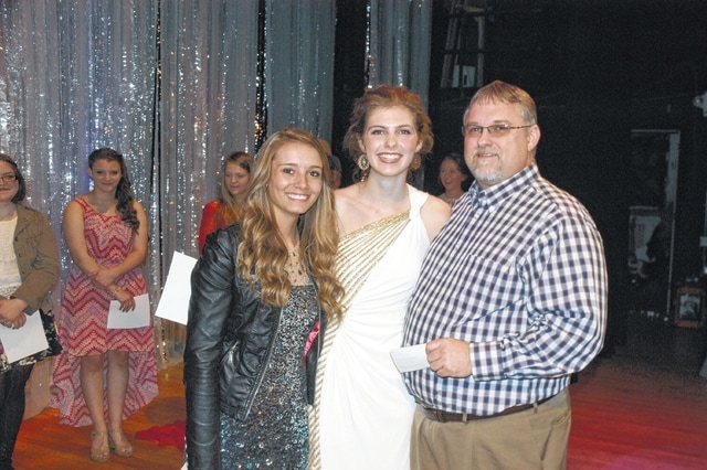 "The singing duo of Hailey Hartshorn and Maria Pickerill of Washington High School won first place in the 49th Washington Kiwanis Club Teen Talent Show held Friday night at the historic Washington Middle School auditorium. Hartshorn and Pickerill are pictured with Kiwanis Club Teen Talent Show Chairman Brian Kelley as they received their cash prize for first place. They sang ""Some Things Are Meant To Be"" in the talent show. Second place went to dancer Ethan Marting of Washington High School, third place and Fan Favorite was the rock group Derailed, Caleb Noble, Nick Funari and Jake Walters from Washington High School, and fourth place went to Anna Grace Wilson, singing ""Somewhere Over the Rainbow."" All the winners received cash prizes. Nearly 20 acts from Washington High School and Miami Trace competed in the talent show. Master of Ceremonies at the event was Harry Wright."