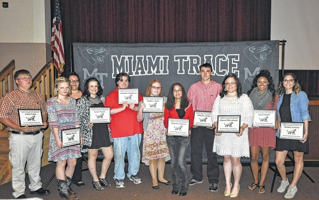 The Miami Trace Academic Boosters Club held its annual honors recognition ceremony on Monday. Top Academic Improvement Recipients: Caleb Pump, Maygan Bennett, Tiffany Carter, Meredith Humphrey, Kiersten Cannon, Lynze Harper, Alexis Smith, Hannah Ellenberger, Mallory Pentzer and Christian Stults. Not pictured: Jacob brown, Ashley Donato, Darrell Gainey, Aunika Fabin, Cierra O'Conner and Madison Welsh