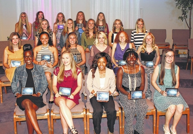 The top track athletes in the South Central Ohio League were honored at the spring banquet May 23, 2016. In the front row are the First Team, All-SCOL members from the league champion Chillicothe Cavaliers. In the row behind them are First Team, All-SCOL members from Washington High School (l-r); Maria Pickerill, Jaelyn Mason, Megan Mullins, Haley Petitt, Alexis Gray and Maddy Garrison. Also from Washington, the first two young ladies pictured in the third row, at right, (l-r); Holly Inskeep and Alexa Harris. In the back row, the first two young ladies on the right (l-r); Katie Seyfang and Tori Morrison. Not pictured for Washington: Kirsten List. Also for Washington, (not pictured) Maria Wilson was Second Team, All-SCOL (high jump).
