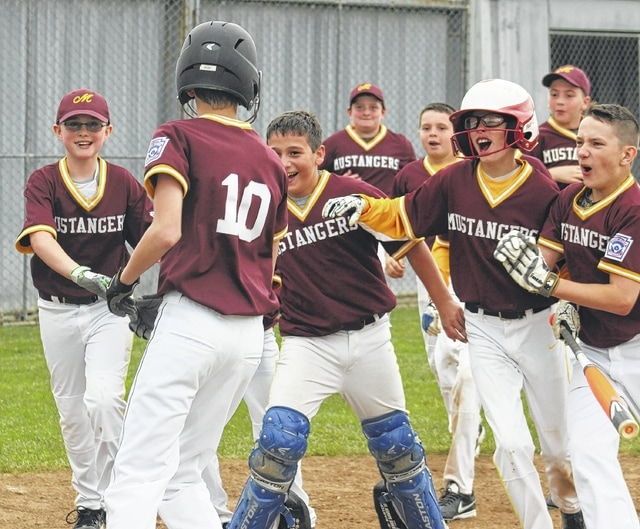 Mustangers react after teammate Hugh Silberman (10) crosses the plate after hitting the first home run of the 2016 Washington C.H. Little League season Saturday, May 7, 2016.