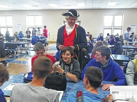 "Washington Middle School celebrated Right to Read Week, May 9-13, with many fun activities for the students. The theme for the week was ""Washington fought for our Freedom."" Superintendent Matthew McCorkle visited students during lunch times dressed as President George Washington to pass out raffle tickets to students who were caught reading. Students were then able to turn in their tickets for free books and a chance to win various food prizes."