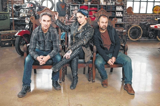 """Mike Wolfe, Frank Fritz and Danielle Colby-Cushman with """"American Pickers."""""""