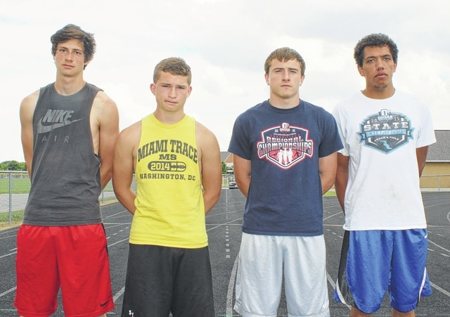 Miami Trace's 4 x 200-meter relay team, above, Tuesday afternoon, prior to their practice session for the State track meet. (l-r); Elijah Sauceda, Noah Wiseman, Drake Litteral and Tyrae Pettiford. Litteral will also be competing at State in the 200-meter dash.