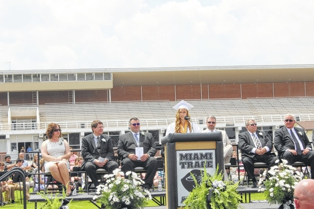 Julia Barrett delivers the salutatorian's address Sunday at the Miami Trace commencement ceremony.