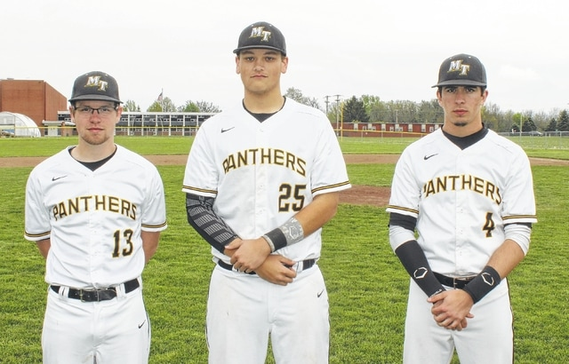 Miami Trace High School honored its three baseball seniors prior to the game against Unioto Tuesday, May 3, 2016. (l-r); Kody Scott, Drew Stevens and Trevon Burnside.