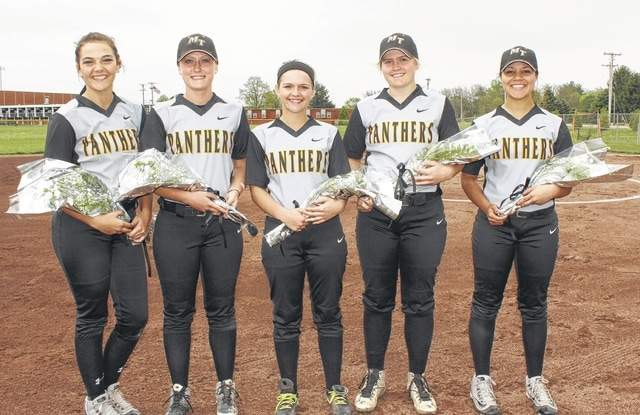 Miami Trace's five softball seniors were recognized in the field prior to the game against Clinton-Massie Monday, May 2, 2016. (l-r); Megan Self, Whitney Cockerill, Emylee Grooms, Alexis Schwartz and Harmonee Napier.