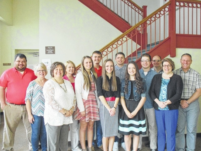 Chamber board members Branen Weade, Merleen Van Dyke; Chamber President Whitney Gentry; board member Kim Oesterle; scholarship recipients Hannah Casto and Riley Evans (Miami Trace); Cassandra Miller (Fayette Christian School); Jordan Flowers (Washington Court House); Emily Russi (Fayette Christian School); Hayden Hufford (Washington Court House) and board members Doug Saunders, Vanessa Blevins and John Hedges.