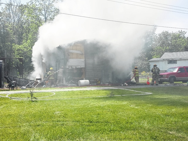 The Concord - Green Township Volunteer Fire Department, Washington Court House Fire Department and the Fayette County Sheriff's Office responded to a structure fire in the Village of Staunton Tuesday. Upon arrival, the crews found a detached garage engulfed and they worked for a couple of hours to extinguish the blaze. The building was seemingly totaled and the owner commented that the garage was filled a day prior.