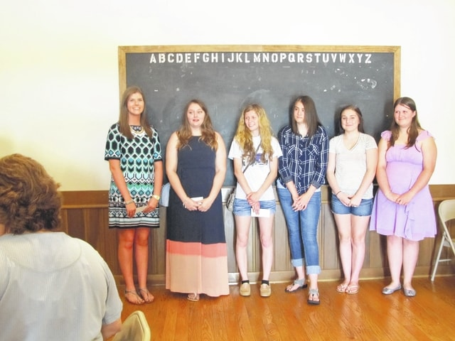 The Dragin' Angels Car Club awarded scholarships to the following youth during their recent anniversary celebration: Hannah Adams, Kayla Mosley, Kala Perkins, Lindsy Aills, Erin Swartz, and Sierra Crawford. Not present: Harrison Gallagher, Jacob O'Deg, and Alyssa Owings.