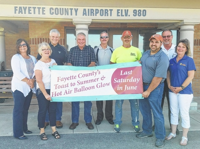 From left to right, Jolinda Van Dyke, Fayette County Travel & Tourism; Merleen Van Dyke, Jim Van Dyke's Tire & Automotive Center; Rich Farrens, Vermeer Heartland; Dan Preston, Buckeye Propane; John Fox, Mid-Atlantic Storage Systems; Mark Carr, Carr Construction; Brian Pettit, The Rusty Keg; Rick Fagan, Jim Gusweiler GMC Toyota; and Kathy Patterson, WVNU Radio.