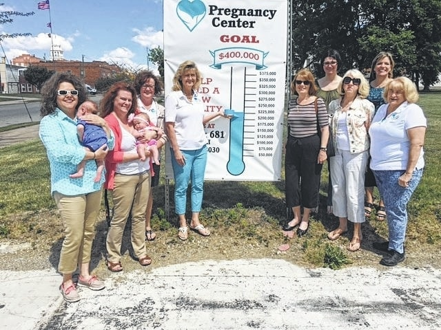 LIFE Pregnancy Center staff members from left to right: Diane Faris Munro, Mandy Findley, Shawn Lachat, Barbara Fox, Patty Griffiths, Carol West, Helen Sharp, back row, Leah Thomas, and Suzie Janasov.