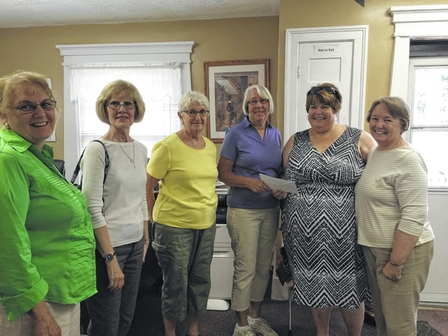 Courthouse Quilters recently presented a donation to Crystal Chrisman-Jones from My Sister's House. Pictured (L to R): Colleen Downing, Jean Ann Davis, Ruth Curry, Beth Foster, Crystal Chrisman-Jones, and Bobbie Long. Each year Courthouse Quilters Guild sets aside a portion of the proceeds from their quilt show at SSCC for donations to local charities.