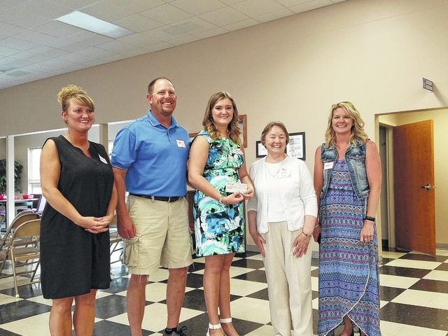 Morgan Rambo, Miami Trace High School 2016 graduate, received the Fayette County Retired Teachers' scholarship at the June luncheon. Flanking Morgan in the photo are Vanessa Pauley, Chris Rambo, Bobbi Long, and Leigh Cannon.