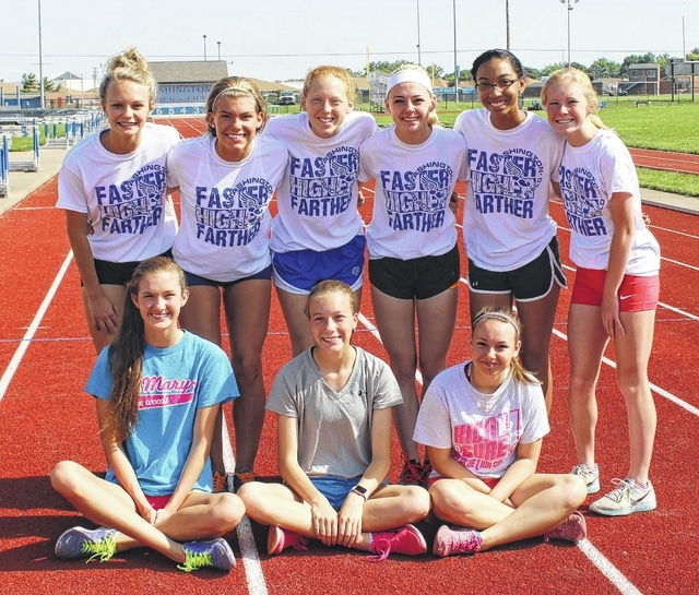 Washington High School will be represented at the State track meet Friday by six student-athletes in four events. There will also be four alternates heading to State. (standing, l-r); Holly Inskeep, 4 x 100 and 4 x 200-meter relays; Megan Mullins, 4 x 100, 4 x 200 and 4 x 400-meter relays; Alexis Gray, 400-meter dash, 4 x 200 and 4 x 400-meter relays; Haley Petitt, 4 x 100, 4 x 200 and 4 x 400-meter relays; Maria Wilson, 4 x 100-meter relay and Maddy Garrison, 4 x 400-meter relay. Seated are the alternates (l-r); Kynzie Osborne, Savanna Davis and Hannah Patterson. Not pictured is alternate Jaelyn Mason.