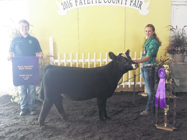 Victoria Waits took two of the top honors during the 2016 Jr. Fair Beef Feeder Calf Show on Tuesday afternoon after several hours of showing. She is pictured with Quinton Waits.