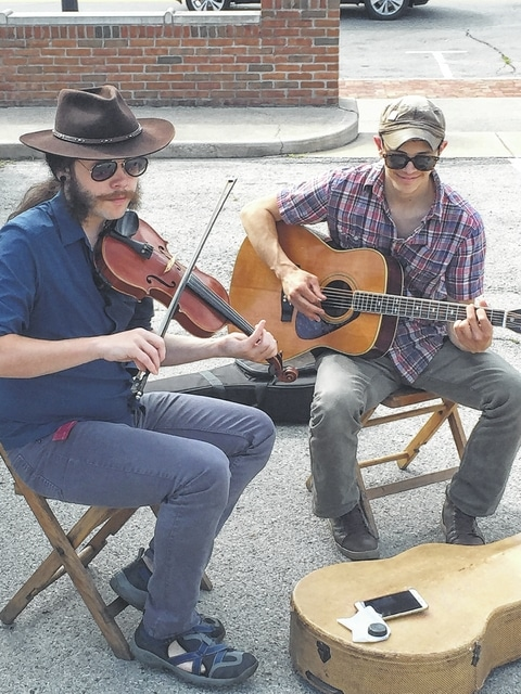 Last week's musicians at the Fayette County Farmers' Market: Caleb Powers, fiddle, and Jake Loew, guitar.