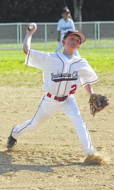 John Wall delivers a pitch for the Washington C.H. 10-year-old all-stars in their game at Huber Heights Monday, July 11, 2016. Wall was the winning pitcher for Washington.