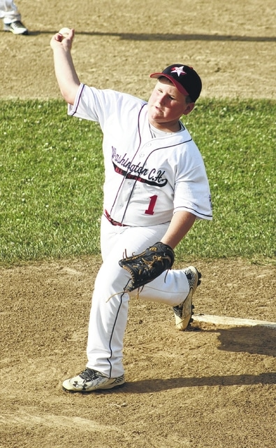 Luke Crabtree started on the mound for the Washington C.H. 10-year-old all-stars and was the winning pitcher in the game against First Dayton Tuesday, July 12, 2016 at the Little League Complex on Lewis Street.