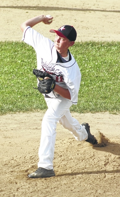 Tanner LeMaster delivers a pitch for the Washington C.H. 11-year-old all-stars during a District Eight tournament game against Eaton Friday, July 15, 2016 at the Little League fields on Lewis Street. LeMaster pitched five-plus innings to get the win.