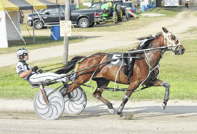 Trevor Smith, of Washington Court House, drives Bongo in the fourth race Wednesday, July 20, 2016 at the Fayette County Fair.
