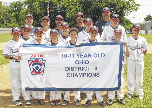 Washington C.H. 11-year-old District Eight champions — The team is pictured standing in front of the pitcher's mound Saturday, July 16, 2016 after a 19-2 win over Eaton that gave them a District Eight championship and earned them a berth in the State tournament. (front, l-r); Dillon Hyer, Jonah Waters, Kylan Howard, Tate Landrum, Cole Little, Cody Brown; (second row, l-r); Wesley May, Noah Hicks, A.J. Dallmayer, Tanner Lemaster, Andrew Guthrie and Tyler Tackage; (back, l-r); coach Todd Tackage, manager Jason Waters, coach Blanton Brown and coach Brad Guthrie.