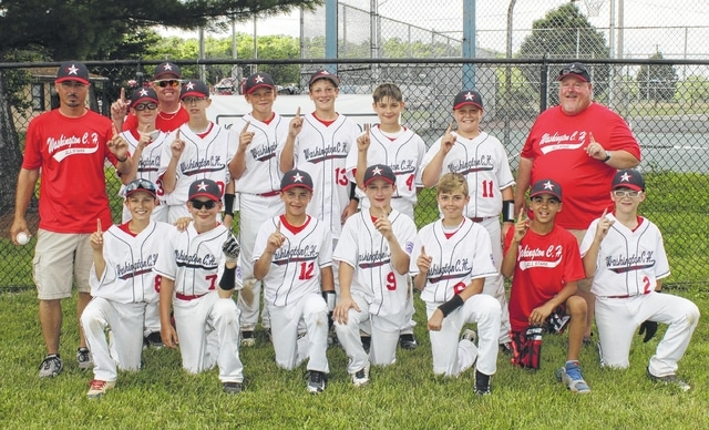 2016 Washington C.H. 12-year-old all-stars District 8 champions are pictured after a 10-6 District championship win over Eaton Staurday, July 9, 2016. Washington will play Saturday, July 16 at 2 p.m. at Boardman (near Youngstown). The likely first-round opponent will by Hamilton West Side, the defending State champions. — (front, l-r); Weston Melvin, Hayden Hunter, Karson Runk, Conner Bucher, Evan Weaver, Jaedan Meriweather, Dylan Grove; (back, l-r); manager Brandon Runk, Alex Boles, coach Roger Boles, Hugh Silberman, Braden Osborne, Drew Ferguson, Brayden May, Gabe Campagna and coach Bret Ferguson.