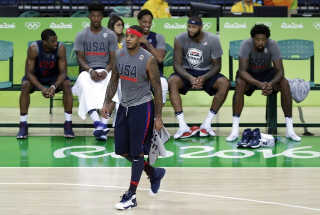 United States' Carmelo Anthony walks off the court following basketball practice at the 2016 Summer Olympics in Rio de Janeiro, Brazil, Thursday, Aug. 4, 2016. (AP Photo/Charlie Neibergall)