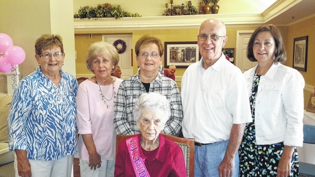 """I've always just lived like mother told me. I'm a little stunned that I've lived so long. I didn't plan on it, it just happened. I reckon my mother raised me right. The right rules, the right food,"" said Corinne Streitenberger during her 100th birthday Thursday surrounded by family and friends. Streitenberger, the daughter of Harry and Emma Graves, grew up in Lyndon, Ohio and taught for 19 years at Buckskin School in Ross County. When asked if she had any advice to people in the community, her children said she frequently says, ""Pretty is as pretty does."" Pictured is Streitenberger with her five children, Peggy Lucas, Janie King, Carol Speakman, Ken Streitenberger, and Jo Ellen Gossett."