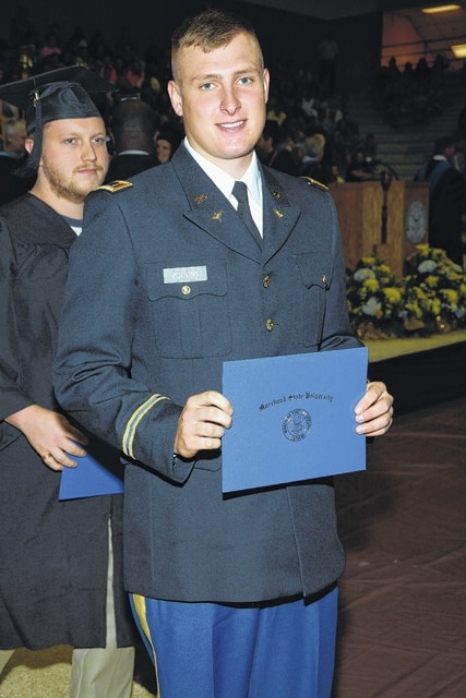 Zachary Blevins, a 2010 graduate of Washington Court House City Schools, graduated cum laude on May 14 from Morehead State University with a degree in criminology. He was commissioned into the Army Aviation program at the graduation. He began his training on Aug. 22 and will be stationed at Fort Rucker, Alabama for two years. He is the son of Jeb and Vanessa Blevins and the brother of Ali Blevins.