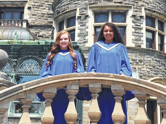 """Brooklynn Stanley and Jocelyn Trimmer were the only two girls from the state of Ohio selected to attend the """"Let Freedom SING!"""" Girlchoir National Convention in Philadelphia."""