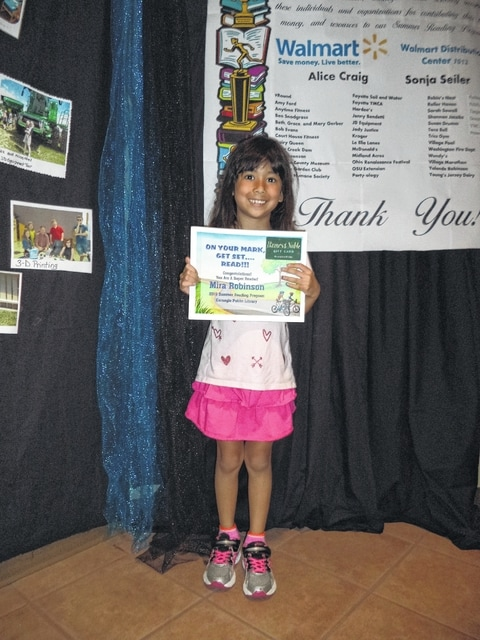 """The Carnegie Public Library congratulated Mira for being the Summer Reading Program """"Super Reader"""" winner."""