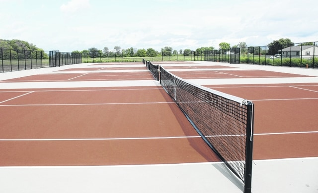 Miami Trace's new tennis courts are ready. The Lady Panthers had their first practice on the courts Wednesday, Aug. 17, 2016. Pictured is Miami Trace junior and second singles player, Cassie VanDyke. The Lady Panthers play their first match on the new courts Thursday, Aug. 25 at 4:30 p.m. against Unioto.