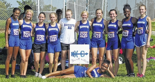 The Washington High School girls cross country team at Wilmington, where they placed fourth out of 10 teams in the combined Division II and III race Saturday, Aug. 27, 2016. (in front, Tahja Pettiford; (standing, l-r); Rayana Burns, Megan Rohrer, Mallory Whitworth, Alexa Harris, Abby Tackage, Maddy Garrison, Ally Funari, Haley Copas, Bianca Rogers-Wright and Catelyn Colter.