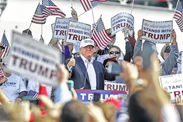 Republican presidential candidate Donald Trump, shown at a veterans' gathering earlier in the campaign, is in southwest Ohio to speak in Wilmington as well as at the national American Legion convention being held in Cincinnati.